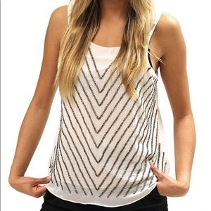 NWT Bishop + Young Chevron Beaded Split Tank